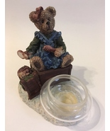 Mama & Baby Teddy Bear Tea Light Candle Holder Blue Green Brown Home Dec... - $27.00