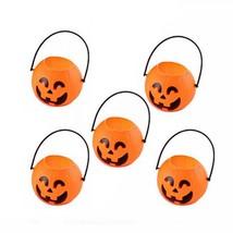 Trick Or Treat Bucket Pumpkin Candy Halloween Bag 5pcs Portable Jar Kids... - $9.49