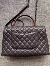 AUTHENTIC CHANEL QUILTED BLACK CAVIAR LARGE COCO PYTHON HANDLE BAG RECEIPT RHW image 4