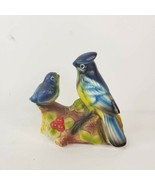 Blue Jay Bird Pair Figurine Hand Painted Bisque Porcelain Unmarked - $14.99