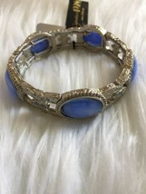1928 silver tone Light Blue Signature Moonstone stretch bracelet NWT - $22.28