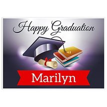 Hat Books Class of 2018 Graduation Banner Personalized Backdrop - £31.89 GBP