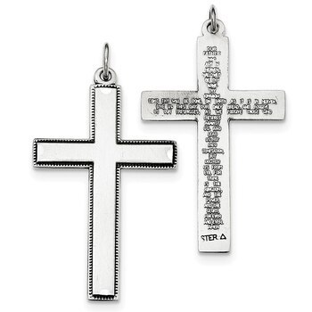 Primary image for Lex & Lu Sterling Silver Oxidized Cross w/Prayer on Back Pendant