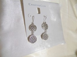 "Charter Club 2"" Silver-Tone Pavé Double Drop Earrings B675 - $9.59"