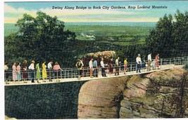 Georgia Postcard Rock City Gardens Swing Along Bridge Lookout Mountain - $2.26