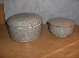 Vintage 4 Pc Fitz & Floyd China Taupe Geometric Powder &Trinket Boxes & Lids - $65.00