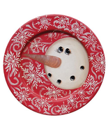 Country Primitive RED SWIRL SNOWMAN WOODEN PLATE Christmas Winter Farmhouse - $55.99