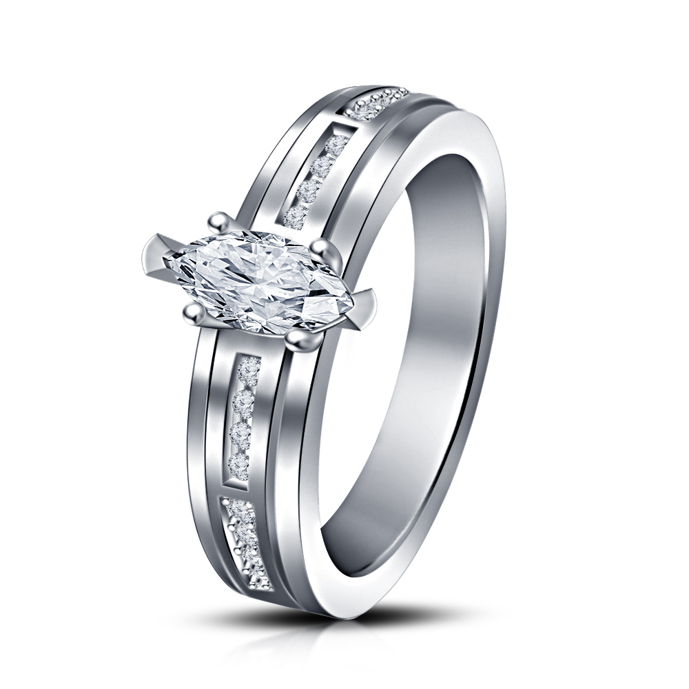 Primary image for 14k White Gold Over 925 Silver Round Simulated Diamond Wedding Ring