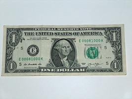 2013 $1 Bill US Note Triple Bookend 3 of a Kind 0's 6-0's 00081000 Fancy... - $14.83