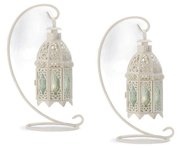 Two (2) hanging white metal green glass table candleholder lanterns & st... - $25.00