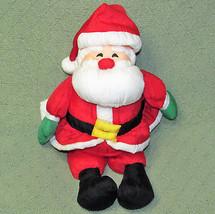 "Hallmark NYLON SANTA CLAUS 13"" Plush Stuffed Christmas Doll Red Suit Green Mitts - $14.01"
