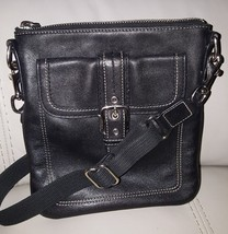 Coach  Black Leather Contrasting Stitching Small Cross Body Bag - $42.77