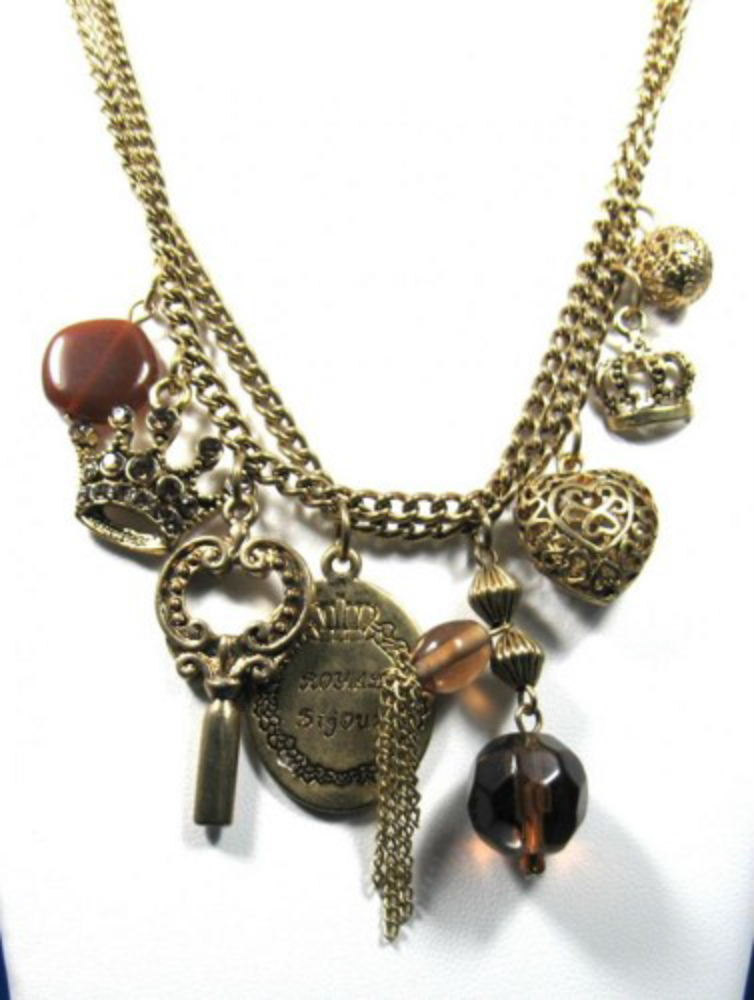 Primary image for Charm Necklace Charms With Carnelian and Root Beer Colored Beads Chain 1980s