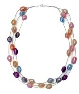 """Freshwater Multi Color Pearl Triple Strand Necklace in Sterling Silver 18"""" - $61.60"""