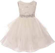 Flower Girl Dress Sequin Lace Top Ruffle Skirt Ivory MBK 357 - $43.56+