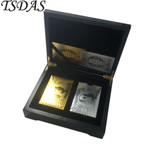 Gold & Silver USD 100 Poker Card With Black Wooden Box 24k Gold Playing ... - $26.00