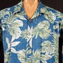 Cooke Street Honolulu Hawaiian Aloha Shirt Mens XL RP Teal Monstera Palm... - $20.56