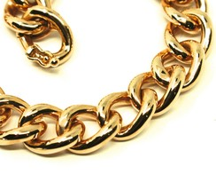 18K YELLOW GOLD BRACELET BIG ONDULATE ROUNDED GOURMETTE CUBAN CURB LINKS 9.5 mm image 2