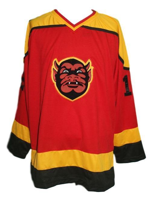 St paul vulcans defunct retro junior hockey jersey red   1