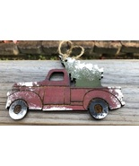 Wood Red Truck with Christmas Tree Handmade Christmas Ornament  - $2.25