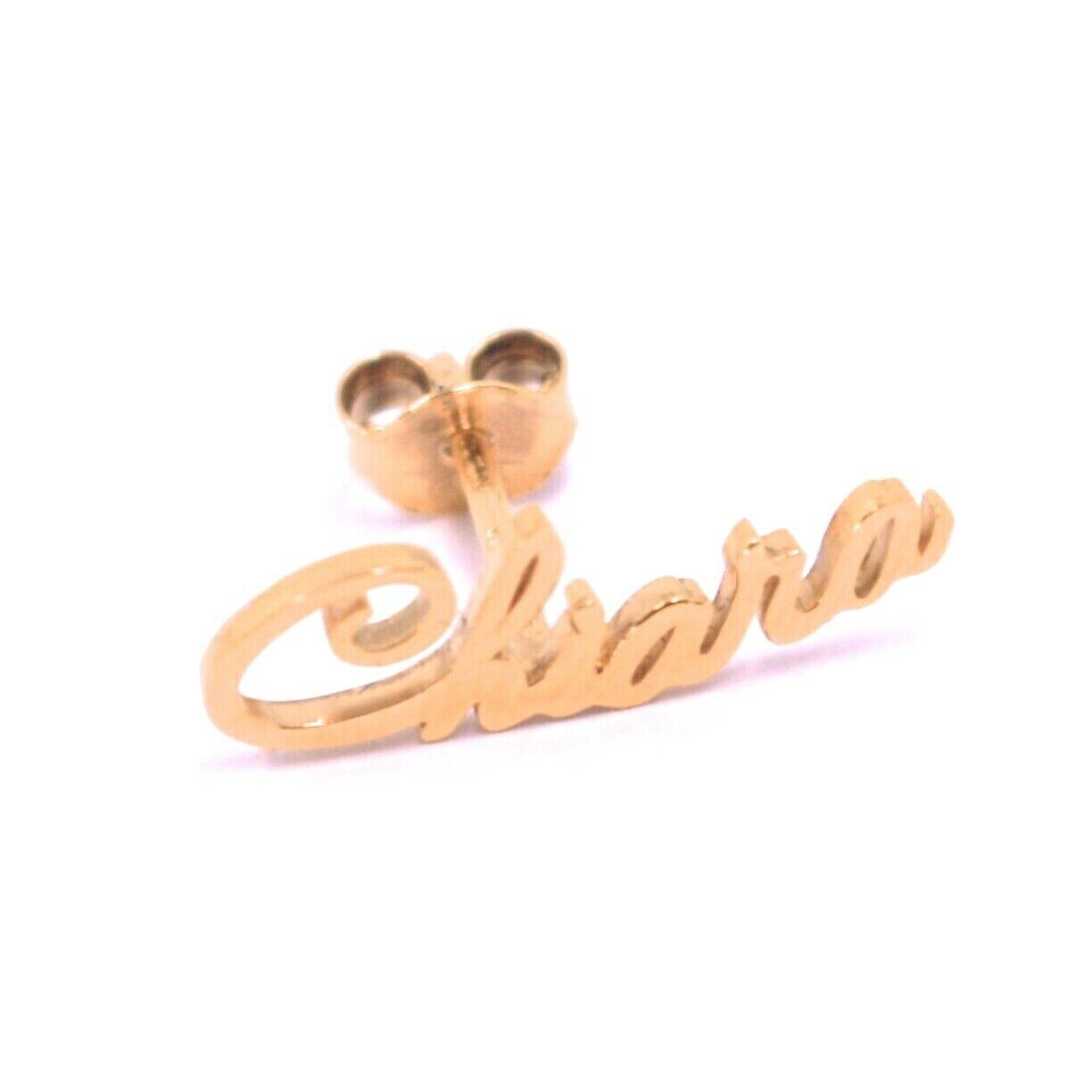 925 STERLING SILVER ROSE EARRINGS, WRITTEN NAME CHIARA, MADE IN ITALY