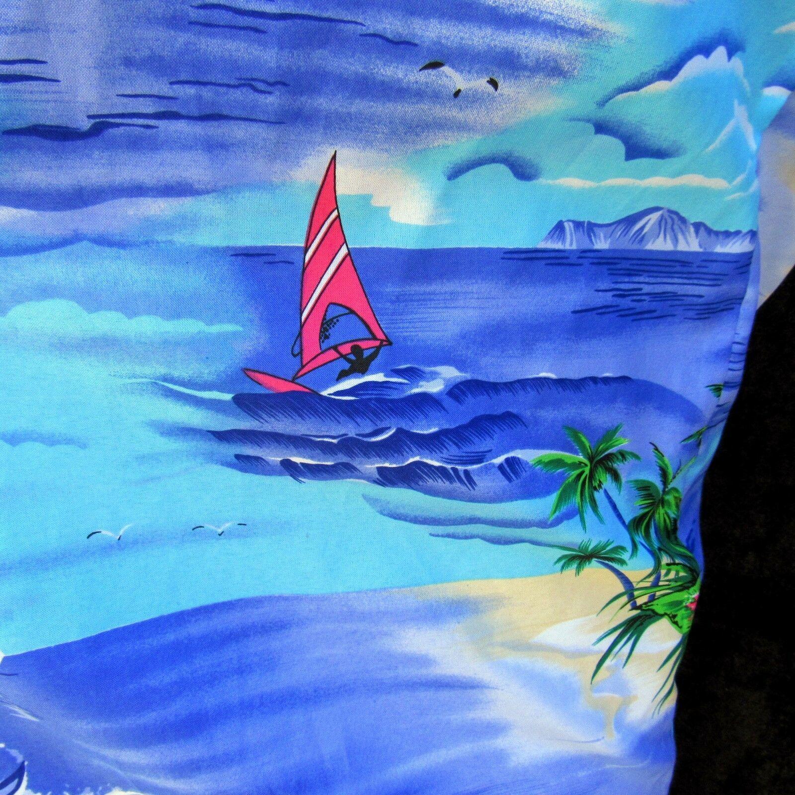 Vtg Royal Creations Aloha Shirt Size Large Diamond Head Outrigger Welt Pocket