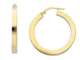 18K YELLOW GOLD CIRCLE EARRINGS DIAMETER 20 MM WITH SQUARE TUBE   MADE IN ITALY image 1