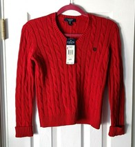 NEW Chaps Ralph Lauren Girl's Cable Knit Red Sweater V-Neck Long Sleeve ... - $12.95