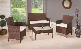 Garden Rattan Set Patio Wicker Furniture 4 Seater & Table Outdoor Indoor 4pcs image 5