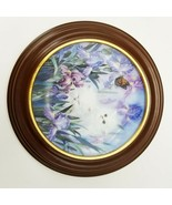 """Two White Kittens Garden Discovery by Lily Chang 8.5""""dia. Bradford Excha... - £14.53 GBP"""
