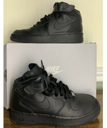 Nike 314195-004: Air Force 1 Mid (GS )Black Black Basketball Sneaker - $79.20