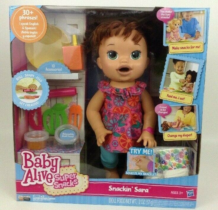 Baby Alive Super Snacks Snackin Sara Brunette Doll Talks Eats Wets 2015 Hasbro