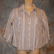 Womens Blue Striped Dressbarn 3/4 Sleeve Shirt Size XL excellent - $7.91