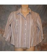Womens Blue Striped Dressbarn 3/4 Sleeve Shirt Size XL excellent - $7.91