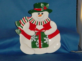 CHRISTMAS DECORATION Snowman Cookie-Candy Dish - $9.99