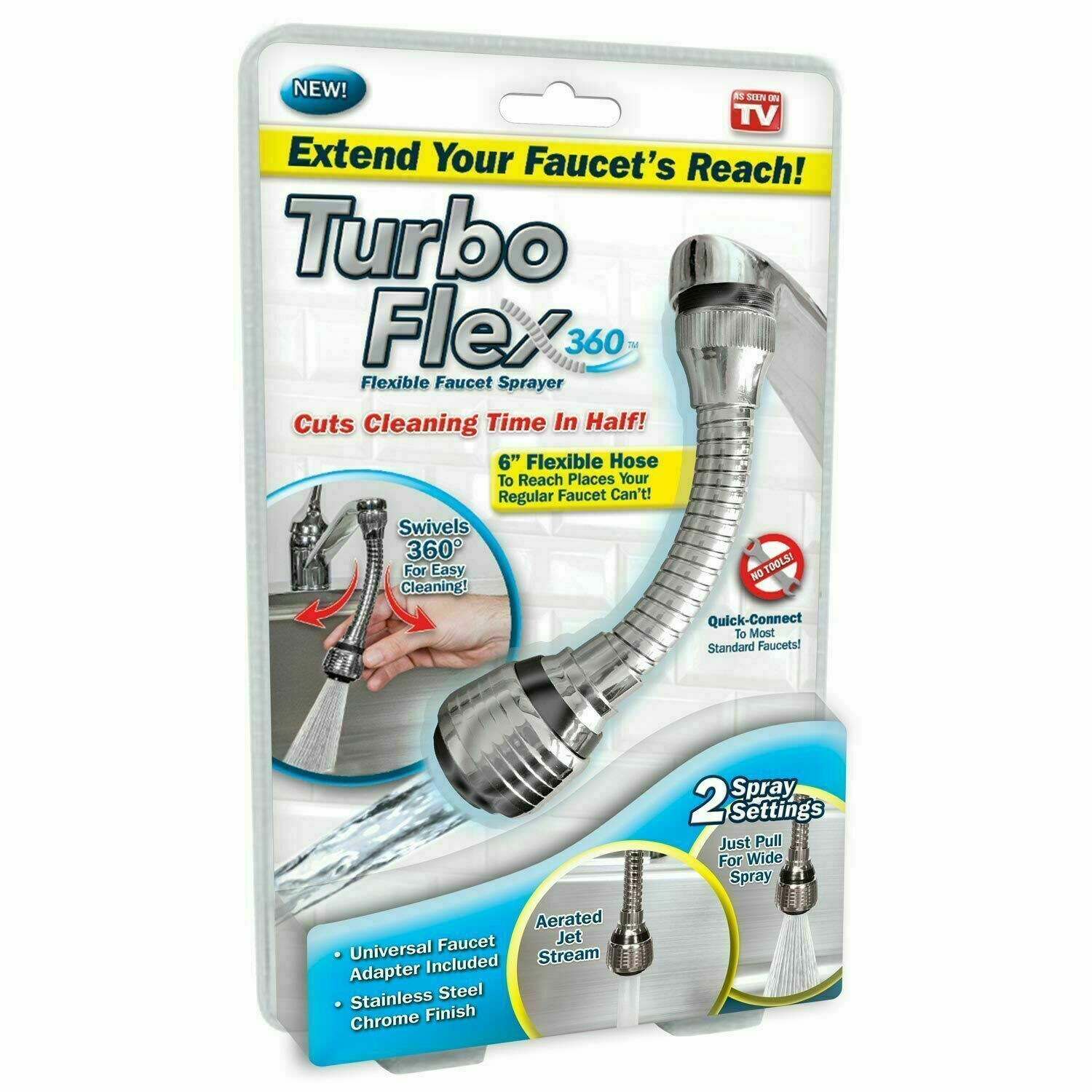 Primary image for Turbo Flex 360 Instant Hands Free Faucet Swivel Spray Sink Hose - Free Shipping!