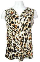 Calvin Klein Womens Cheetah Printed Sleeveless Tops Multicolor M 4210-3 - $27.76