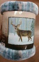 Deer in the Snow American Heritage Woodland Royal Plush Raschel Throw bl... - $23.75