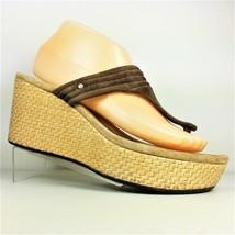 UGG AUSTRALIA ZAMORA 3093 Brown Suede Wedge Thong Platform Sandals US Si... - €26,49 EUR
