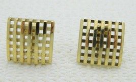 VTG Beautiful Pair of AVON Signed Gold Tone Open Work Square Clip Earrings - $9.90