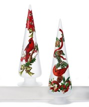 Set of 2 Chrismas Pattern Cone Tree Decor w Red Cardinal Birds & Ribbon Detail