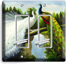 Peacock Birds White Colorful Feathers 2 Gang Gfci Light Switch Plate Room Decor - $10.52