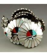 Vintage Old Pawn Zuni CONCHO BELT Sterling Silver Multi-Gems Inlay Sunfa... - $2,199.00