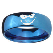 8mm Joker Dome Blue Tungsten Carbide Wedding Engraving Ring - $39.99