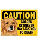 """Funny Dog Sign Caution GOLDEN RETRIEVER May Lick You To Death magnet 5"""" ... - $5.95"""