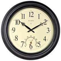 """AcuRite - 50308A2 - 18"""" Atomic Metal Outdoor Clock with Thermometer - Bl... - $79.15"""