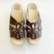Dansko Serena Womens Euro 42 Brown Leather Flower Slip On Clog EUC! US 11.5/12 - $39.59