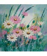 Pink White Daisies Original Oil Painting Meadow Impasto Daisy Lavender P... - $75.00