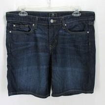 Gap Bermuda Jean Shorts Sz 6 28 Dark Wash Blue Denim Stretch Cotton Blend - $16.99
