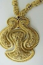 VTG Monet Haute Couture Pendant Necklace Gold Plated Etruscan Brutalist ... - $123.75